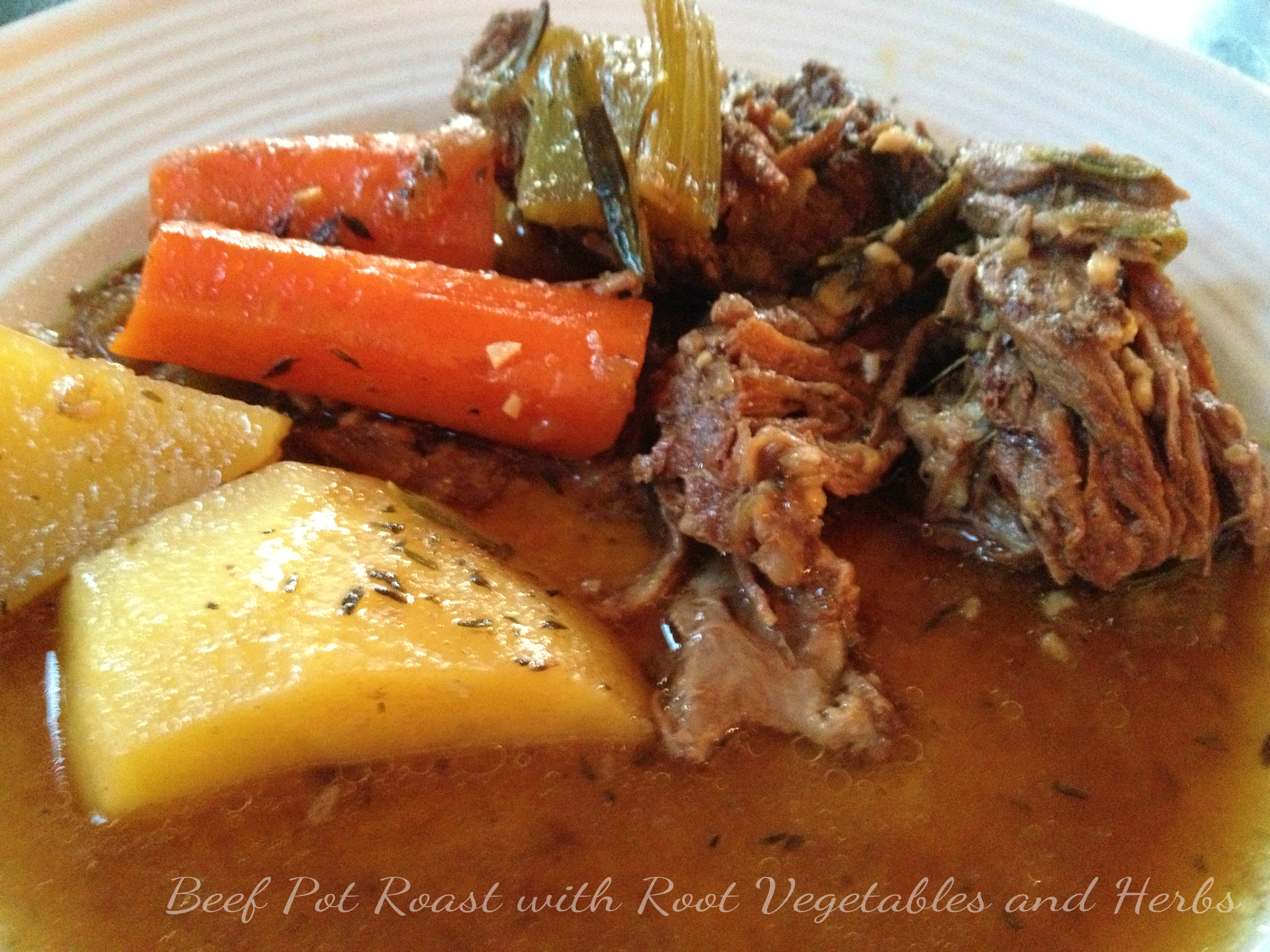 Last night I prepared this Beef Pot Roast Dinner with Root Vegetables ...